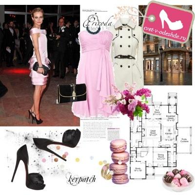 Туфли к нежно розовому короткому платью