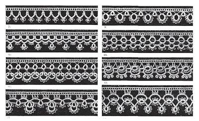 Образцы под номерами 3,4, 7-13 - фриволите в сочетании с вязанием крючком